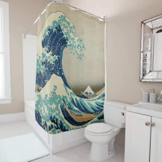 Great Wave Off Kanagawa Hokusai Famous Japan Shower Curtain