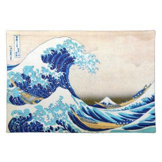 Great Wave Off Kanagawa Hokusai Fine Art Cloth Place Mat