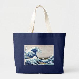 Great Wave Off Kanagawa Hokusai Fine Art Large Tote Bag