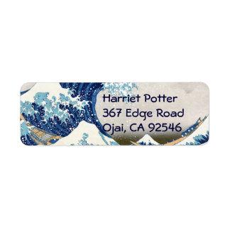 Great Wave Off Kanagawa Hokusai Japanese Fine Art Label