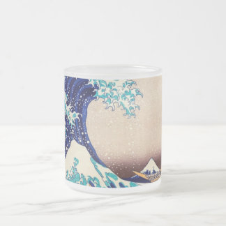 Great Wave Off Kanagawa Japanese Vintage Fine Art Frosted Glass Coffee Mug