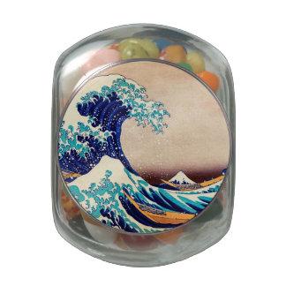 Great Wave Off Kanagawa Japanese Vintage Fine Art Glass Jars