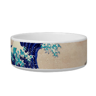 Great Wave Off Kanagawa Japanese Vintage Fine Art Cat Water Bowl