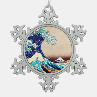 Great Wave Off Kanagawa Japanese Vintage Fine Art Snowflake Pewter Christmas Ornament