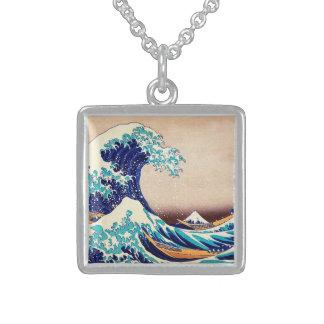 Great Wave Off Kanagawa Japanese Vintage Fine Art Sterling Silver Necklace