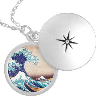 Great Wave Off Kanagawa Japanese Woodblock Print Locket Necklace