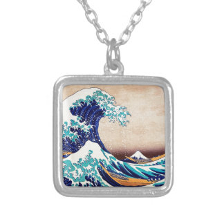 Great Wave Off Kanagawa Japanese Woodblock Print Square Pendant Necklace
