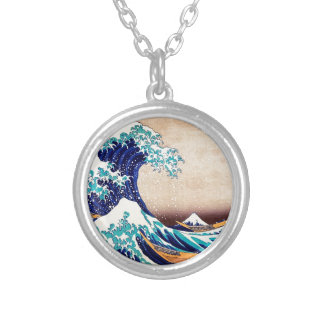 Great Wave Off Kanagawa Japanese Woodblock Print Silver Plated Necklace