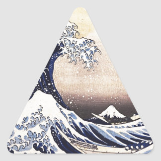 Great Wave Off Kanagawa Japanese Woodblock Print Triangle Sticker