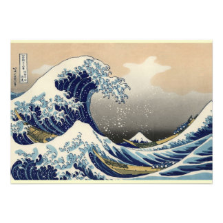 Great Wave off Kanagawa Oriental Fine Art Personalized Invitation