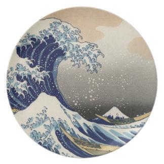 Great Wave off Kanagawa Oriental Fine Art Party Plates