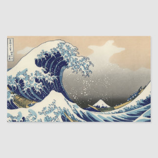 Great Wave off Kanagawa Oriental Fine Art Rectangular Sticker