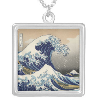 Great Wave off Kanagawa Oriental Fine Art Silver Plated Necklace