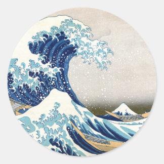Great Wave Off Kanagawa Vintage Japanese Fine Classic Round Sticker