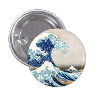 Great Wave Off Kanagawa Vintage Japanese Fine Pinback Button
