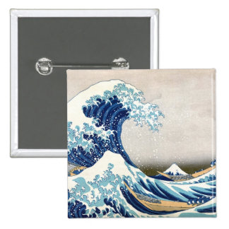 Great Wave Off Kanagawa Vintage Japanese Fine Pinback Button