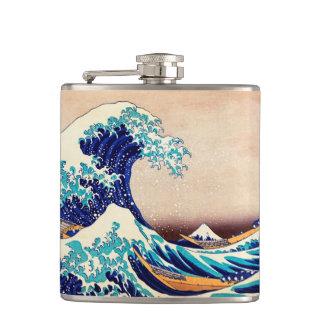 Great Wave Off Kanagawa Vintage Japanese Print Art Flask