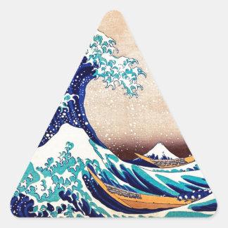 Great Wave Off Kanagawa Vintage Japanese Print Art Triangle Stickers