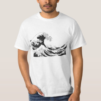 """Great Wave"" T-Shirt, Black and White Size L Tee Shirt"