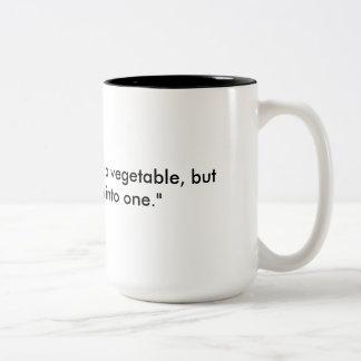 Great way of describing the feeling before coffee Two-Tone coffee mug
