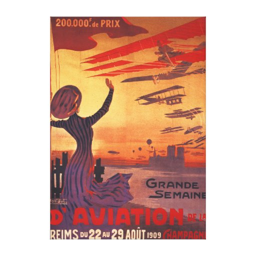 Great Week of Aviation - Woman Waving Poster Canvas Print
