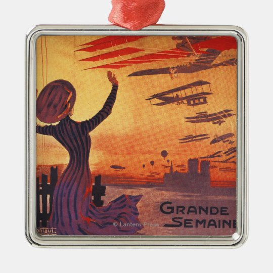 Great Week of Aviation - Woman Waving Poster Metal Ornament