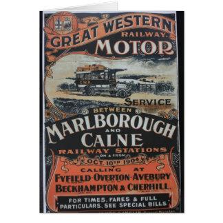 Great Western Railway motor service vintage advert Greeting Cards