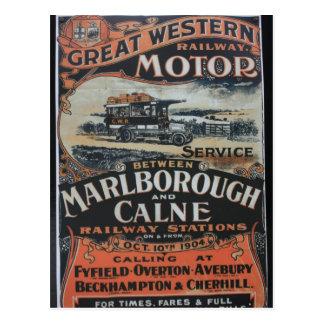 Great Western Railway motor service vintage advert Postcard