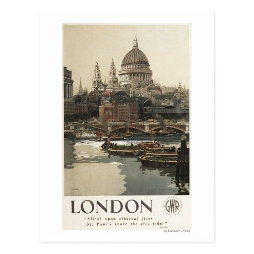 Great Western Railway St. Paul's Travel Poster Postcard