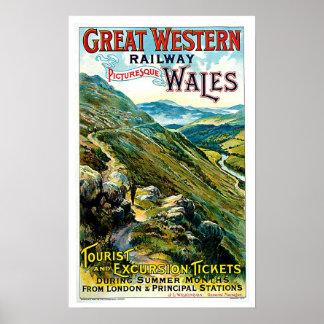 Great Western Railway Wales Vintage Travel Art Poster