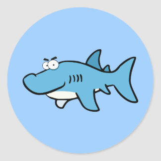GREAT WHITE BLUE SHARK CARTOON SNEAKY FUNNY SURF S CLASSIC ROUND STICKER