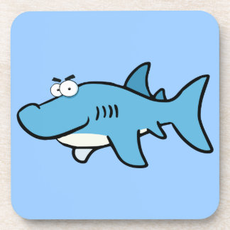 GREAT WHITE BLUE SHARK CARTOON SNEAKY FUNNY SURF S DRINK COASTER