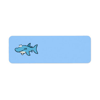 GREAT WHITE BLUE SHARK CARTOON SNEAKY FUNNY SURF S LABEL
