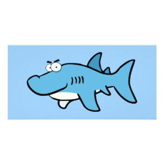 GREAT WHITE BLUE SHARK CARTOON SNEAKY FUNNY SURF S PHOTO CARD TEMPLATE