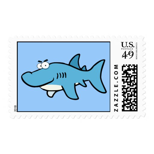 GREAT WHITE BLUE SHARK CARTOON SNEAKY FUNNY SURF S POSTAGE