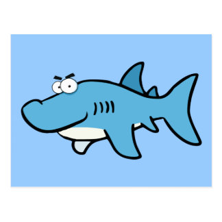 GREAT WHITE BLUE SHARK CARTOON SNEAKY FUNNY SURF S POSTCARD