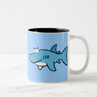 GREAT WHITE BLUE SHARK CARTOON SNEAKY FUNNY SURF S Two-Tone COFFEE MUG