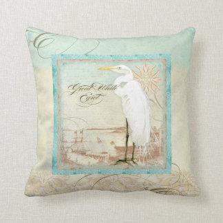 Great White Egret  Coastal Beach Home Decor Pillow