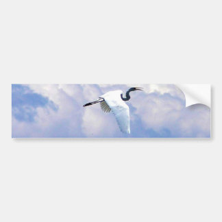 Great white egret flying in the beautiful sky bumper sticker