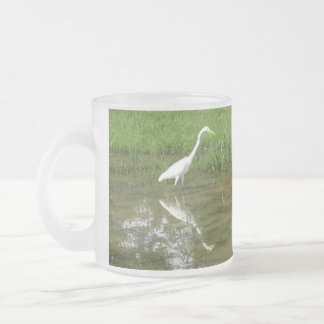 Great White Egret Frosted Glass Coffee Mug