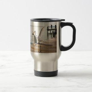 Great White Egret Heron Gracefully Snacks Travel Mug