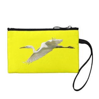 Great White Egret in Flight Change Purse