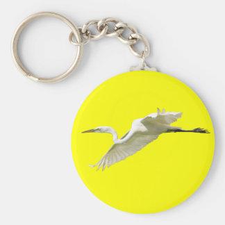Great White Egret in Flight Keychain