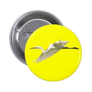 Great White Egret in Flight Pinback Button