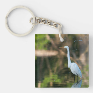 Great White Egret Square Acrylic Key Chains