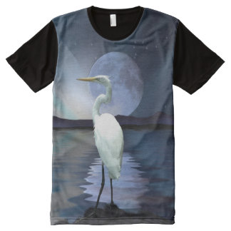 Great White Egret, Moon and Water Wildlife Art 2 All-Over Print Shirt