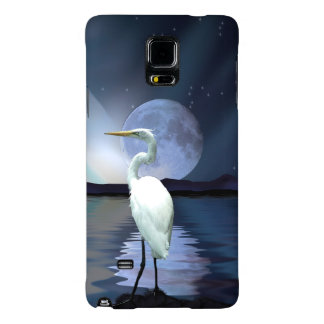 Great White Egret, Moon and Water Wildlife Art 3 Galaxy Note 4 Case