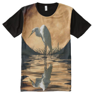 Great White Egret, Moon and Water Wildlife Art All-Over Print T-shirt