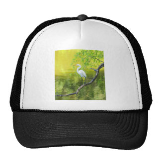 Great White Egret Perched on a Limb jpg Mesh Hat