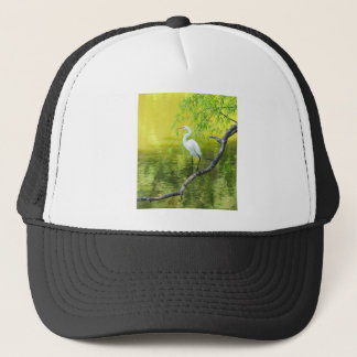 Great White Egret Perched on a Limb.jpg Trucker Hat